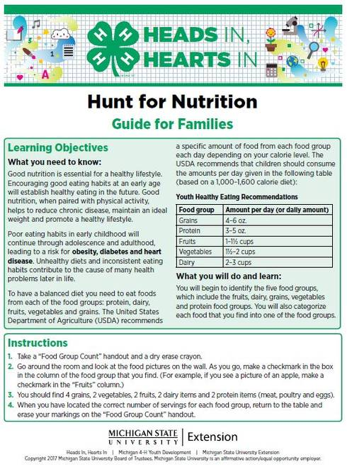 Hunt for Nutrition cover page.
