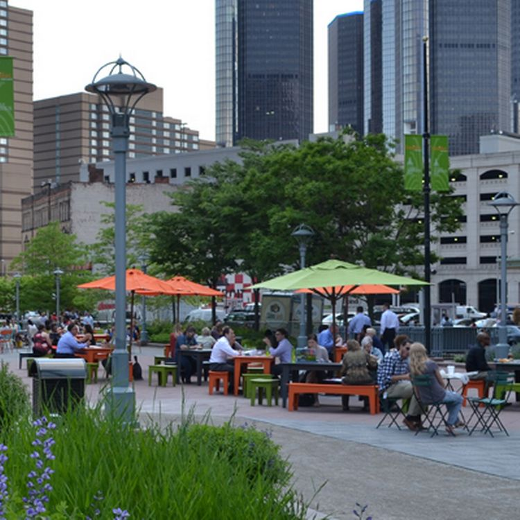A view of Campus Martius Park in Detroit. Photo by the Land Policy Institute.
