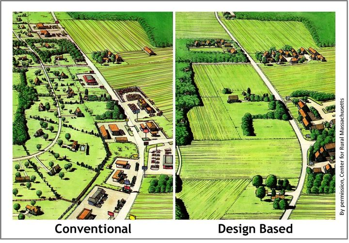 Conventional commercial development and design-based commercial development in a rural setting. Courtesy of the Center for Rural Massachusetts.