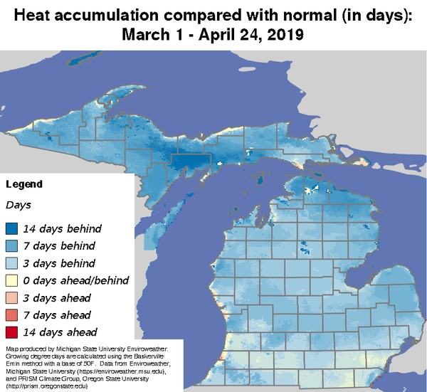 Map of heat accumulation compared with normal (in days) from March 1 – April 24, 2019.