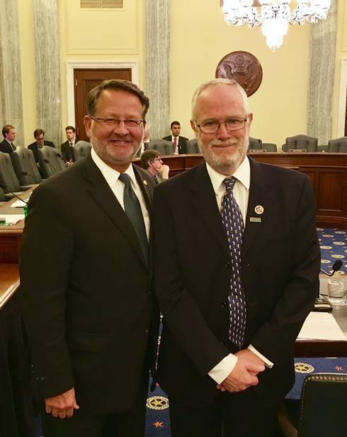 Sen. Gary Peters (left) and Dr. Michael Jones at the Oct. 24, 2017, Congressional Hearing. Photo: Jacob Courville | Michigan State University