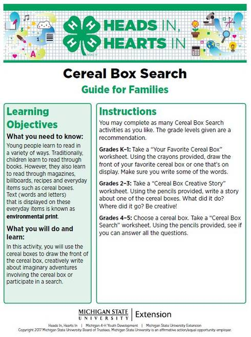 Cereal Box Search cover page.