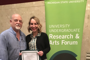 Emmaline Gates (r), pictured with her research mentor Ernest Delfosse (Department of Entomology).