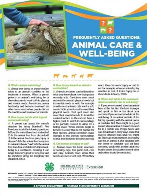 Animal care and well being poster.