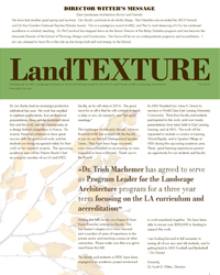 Front cover of the Fall 2013 LandTEXTURE Newsletter.