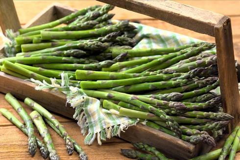 Asparagus in wooden carrier. Photo courtesy of Michigan Asparagus Advisory Board.