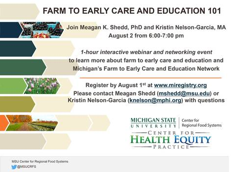 Electronic flyer of Farm to Early Care and Education 101 webinar.