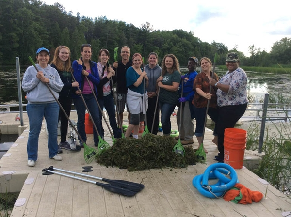 Educators learn about watersheds by kayak while providing aquatic stewardship service, removing invasive European Frogbit. Photo credit: Michigan Sea Grant