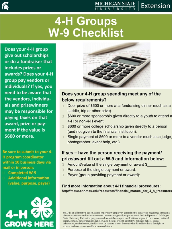 When will you use a W-9 as a 4-H group? - MSU Extension