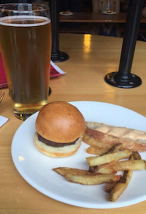Local beef slider with fries and drink. Photo credit: Beth Wernette via Facebook.com
