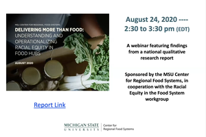 Webinar - Delivering More Than Food: Understanding and Operationalizing Racial Equity in Food Hubs