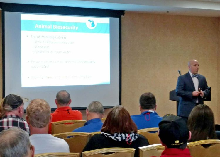 State veterinarian Dr. James Averill presents at the Michigan Association of Fairs and Exhibitions Conference.