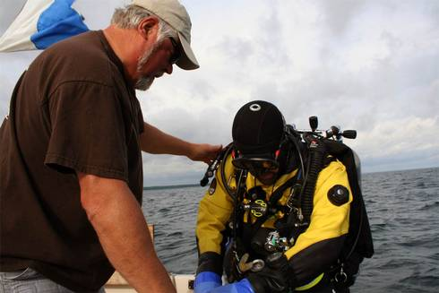 Charter Captain Steve Kroll offers guide services for divers looking to experience the shipwrecks of northern Lake Huron. Photo credit: Michigan Sea Grant