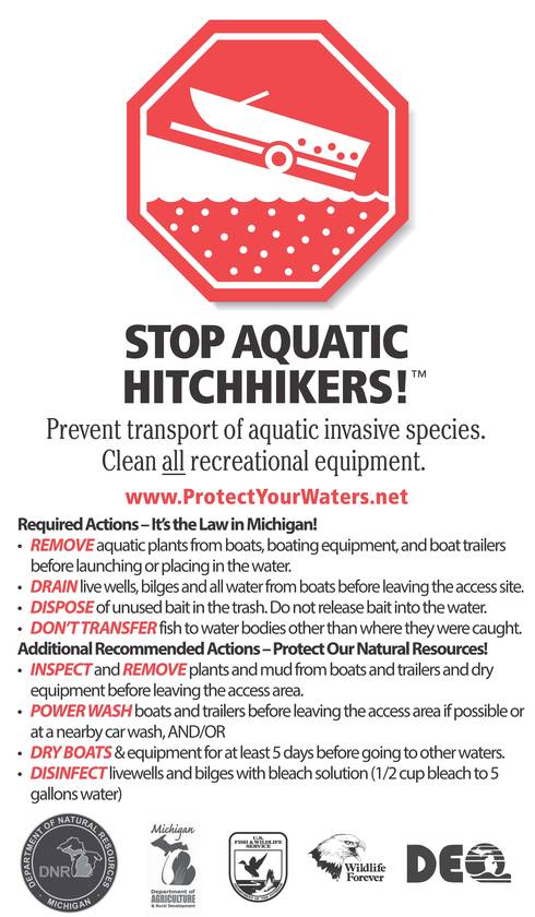 This winchpost sticker reminds boaters to take required and recommended actions to prevent the spread of invasive species.
