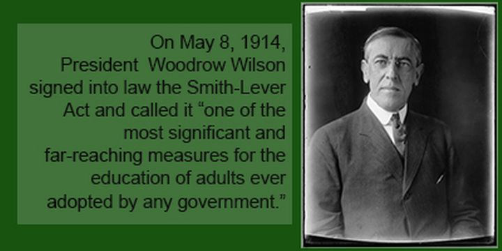 President Woodrow Wilson signed the innovative Smith-Lever Act which established the Cooperative Extension System. Photo credit: Harris & Ewing, Library of Congress. | MSU Extension