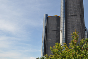 The Renaissance Center and river walk in Detroit.