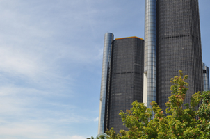 Detroit Renaissance Center and Riverwalk, photo by the Michigan Municipal League