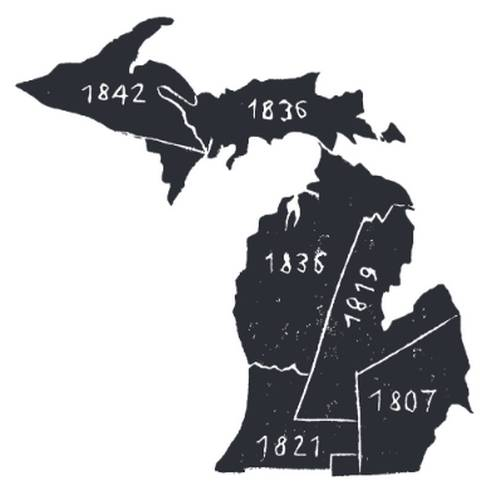Michigan's state boundaries were formed in several land treaties from 1807 through 1842, including the 1819 Treaty of Saginaw that includes the land Michigan State University occupies.