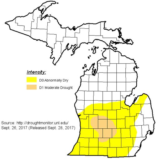 Michigan drought monitor on September 28, 2017.