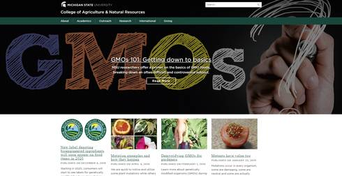 Homepage of MSU GMO website