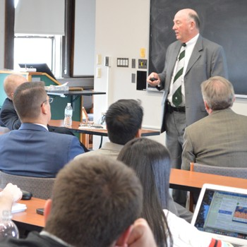 MSU construction management alumnus Al Scott, from AFS, Inc., during his presentation at the SPDC Industry Seminar Series event