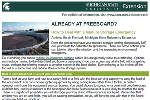 Already at Freeboard? How to Deal with a Manure Storage Emergency cover page.