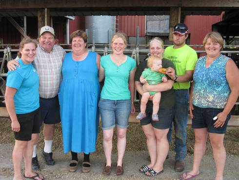 Weiss family and Sandra Wefer, 2015 IFYE participant. Left to right: Lydia, Roger, Joanmarie, Sandra Wefer, Bethany holding granddaughter Lilly, Scott and Margie.