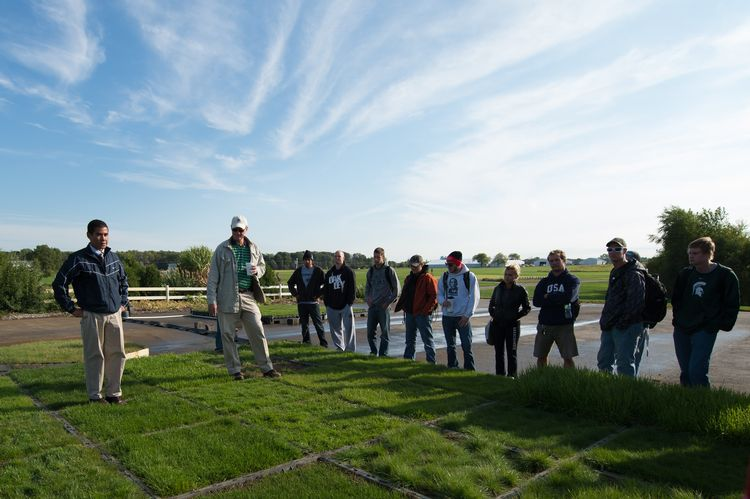 File photo of a turfgrass class with students at the Hancock Turfgrass Research Center on the campus of Michigan State University.