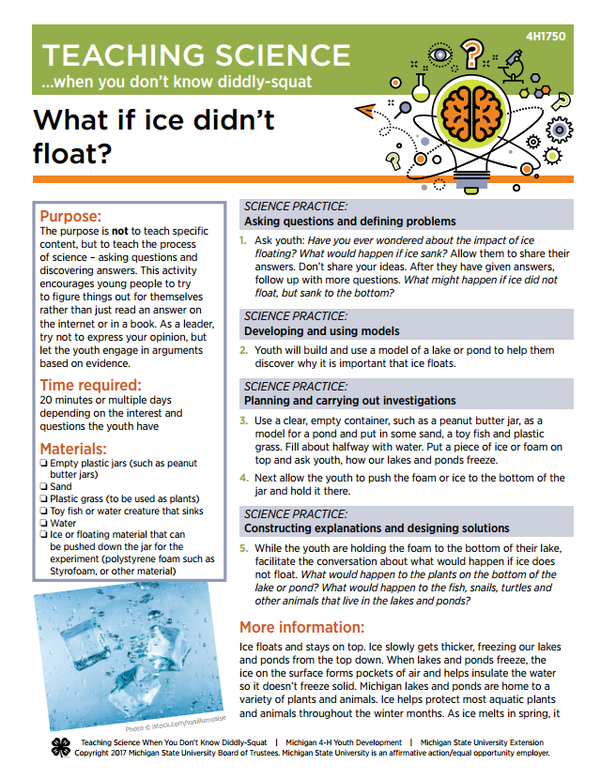 Teaching science when you don't know diddly-squat: What if ice didn