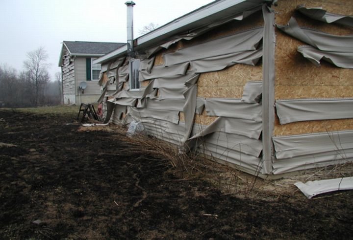Structure damaged in a Michigan grass fire. Photo credit: MSU Extension Firewise PowerPoint archive l MSU Extension
