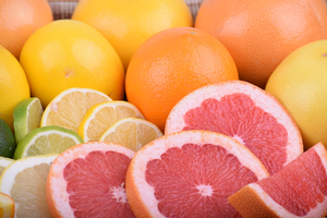 Various citrus fruits.