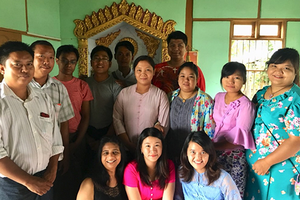 AFRE's Myat Thida Win with Mywish Maredia in Myanmar, conducting field research.