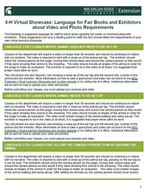 Thumbnail of 4-H Virtual Showcase: Language for Fair Books and Exhibitors about Video and Photo Requirements document.