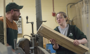 Dan Brown and Tammy Wright discuss an urban wood project for Sparty's Cabin