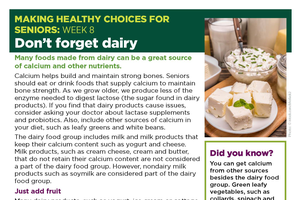 MHC for Seniors: Don't Forget Dairy
