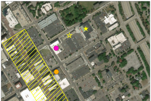 Aerial photo detailing the location of the Flint Farmer's Market.