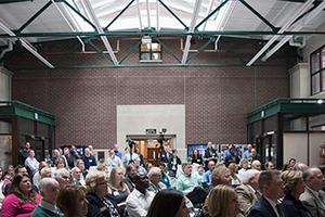 Colleagues, friends of family of David Schweikhardt gathered in the Agriculture Hall Atrium