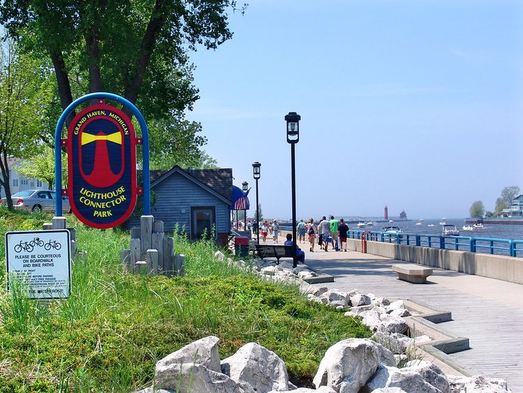 Grand Haven Boardwalk is shown on a sunny day.