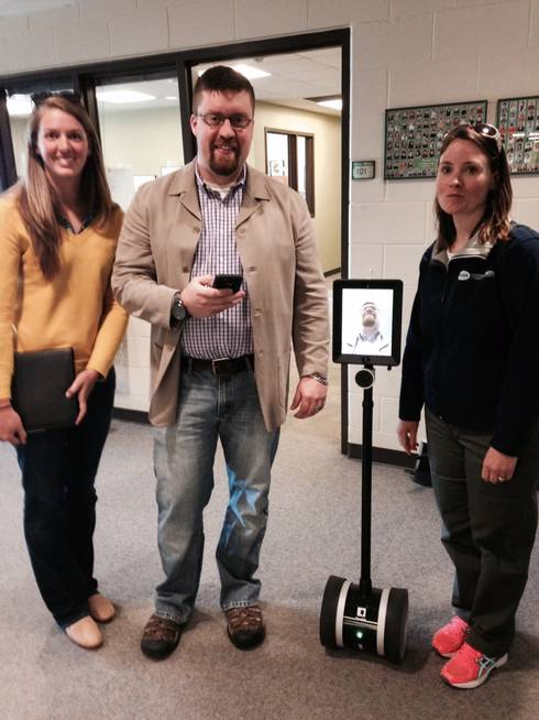 "Testing out the new ""Double Telepresence"" mobile robot"