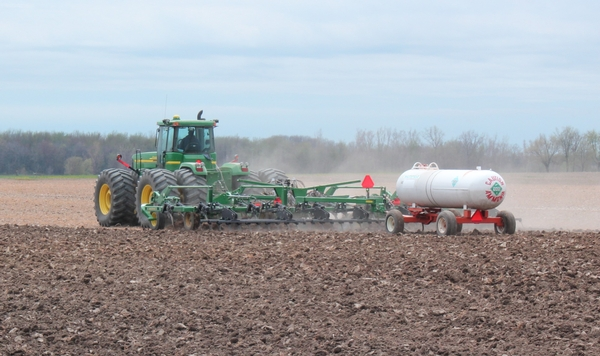 Applying anhydrous ammonia to corn field