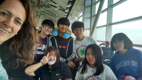 Six Korean delegates after an extra day in Michigan, waiting for their flight back to Korea.