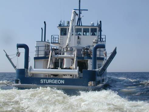 The research vessel Sturgeon conducts prey fish trawl surveys on the Great Lakes. Photo: Great Lakes Fishery Commission