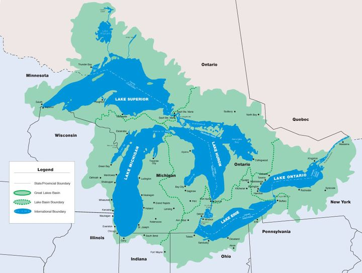 The Great Lakes watershed touches 8 states and 2 provinces.