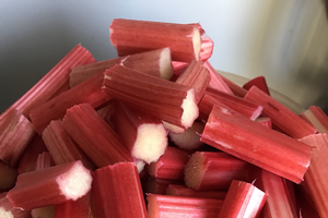 Fresh rhubarb stalks chopped up.