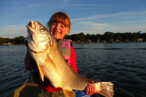 Big fish and a big smile! This freshwater drum weighed seven and a half pounds and was aged at 25 years old. Courtesy photo
