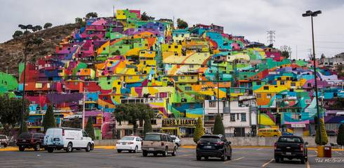 The hillside neighborhood of Las Palmitas, Mexico is now a giant mural. | Ted McGrath