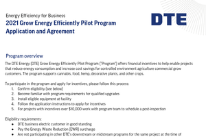 DTE Energy Grow Energy Efficient Pilot Program Application and Agreement