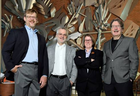 (Left to right): Andrew Christlieb, Dean Della Penna, Robin Buell and Christoph Benning. Photo by Harley Seeley.