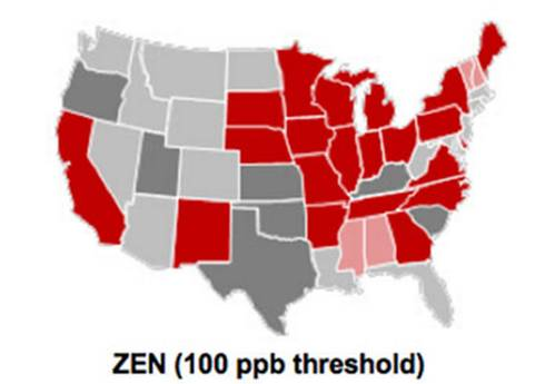 map of US showing Zeralenone results by state