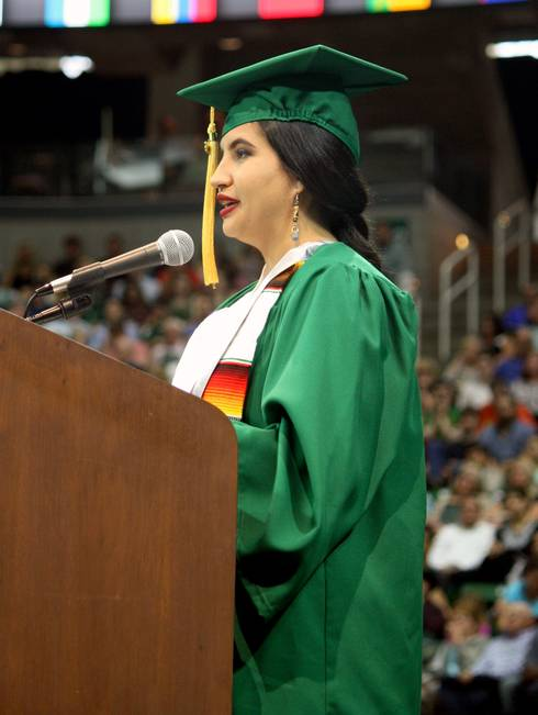 Alondra Alvizo gives the student speech at the CANR undergraduate commencement on May 5, 2018.